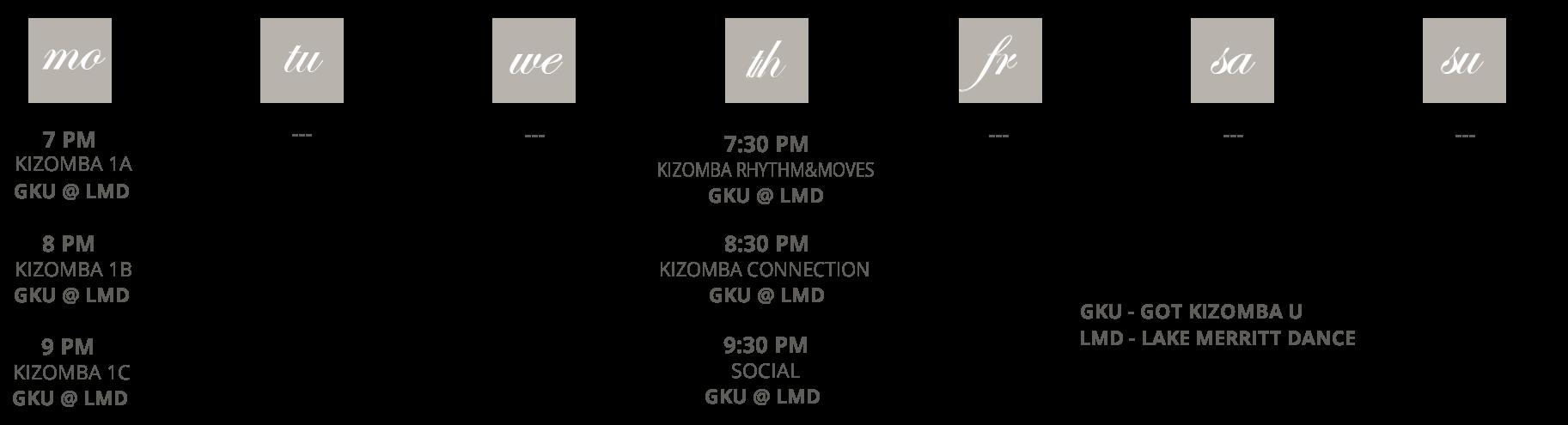 Got Kizomba U schedule at a glance