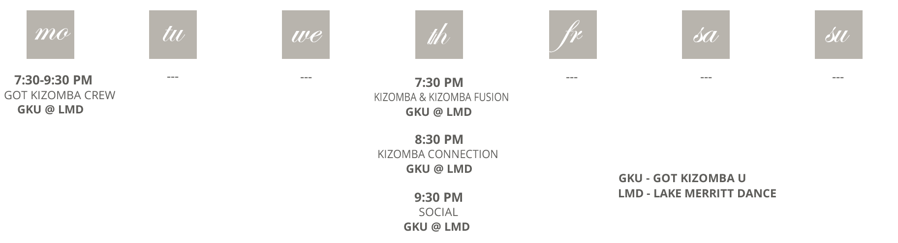 Got Kizomba U schedule at a glance